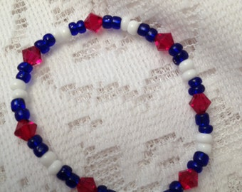 Stretchy Red White and Blue 4th of July Bracelet