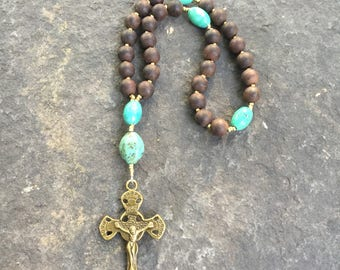 Sandalwood and Turquoise Anglican Rosary  Protestant Prayer Beads  Episcopal Rosary  Christian Mediation Prayer Beads   Confirmation Gift