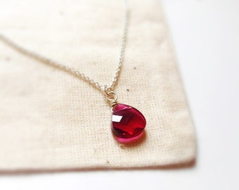 Sweet kiss (necklace) - Small Swarovski Ruby briolette pear drop on sterling silver chain