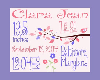 Birth Announcement, Baby Girl Birth Statistics, Pink and Purple Nursery Decor, Personalized Girl's Birth Announcement, New Baby Gift