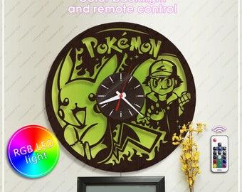 Wood Clock Pokemon| Pikachu Clock with Led Light| Anime Gift| Wall Clock *w343 Handmade Clock| Anime Horloge| Unique Clock