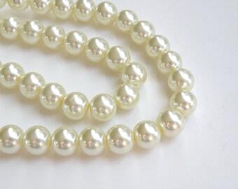 Ivory glass pearl beads round 10mm full strand 7782GB