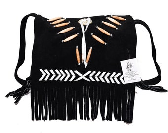 Traditional Black Suede Leather Bag Purse Shoulder Cross Body with Fringe Bone and Beads