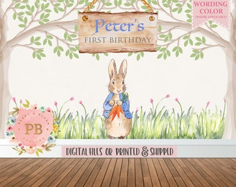 Peter Rabbit Birthday Backdrop -  Peter Rabbit Baby Shower Backdrop, Bunny Backdrop, Bunny Baby Shower, Cake Table Backdrop