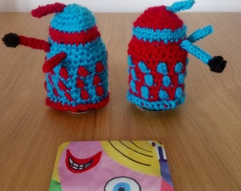 Crocheted dalek egg cozies