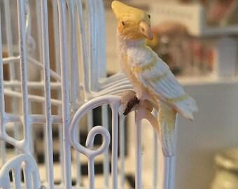 SALE Miniature Cockatoo, Yellow and White Lutino Cockatoo, #32, Dollhouse Miniature, 1:12 Scale, Miniature Bird, Mini Bird Figurine