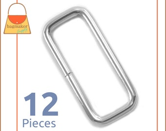 "1.5 Inch Rectangle Rings, Nickel Finish, 12 Pieces, Purse Handbag Bag Making Hardware Supplies, 1.5"", 1-1/2 Rectangular, RNG-AA280"