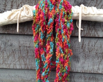 Colorful Finger Knit Scarf, knit, knitting, finger knit, infinity scarf, scarf, child, adult
