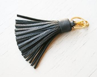 Leather Keychain Tassel Keychain Black Leather Tassel Key Fob Bag Purse Tassel Charm