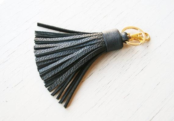 En Cuir Porte Clé Pompon Noir Porteclé En Cuir Porteclé Sac - Porte clé cuir