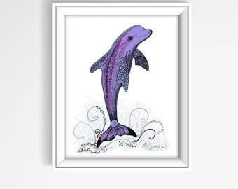 Dolphin Watercolor Art, Dolphin Print, Dolphin Art Print, Bathroom Art, Dolphin Wall Art, Dolphin Decor, Wall Art, Dolphin Painting P1026B