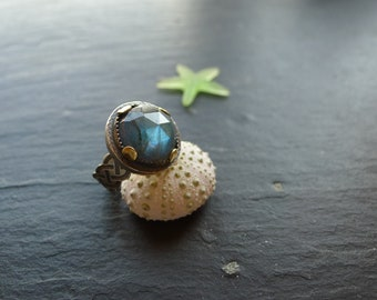 BOHO LABRADORITE RING, sterling silver ring, size 7, summer ring, one of a kind, ethnic ring, etched ring