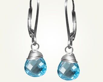 December Birthstone, Blue Topaz Earrings, CANDY DROP EARRINGS in Swiss Blue Topaz.