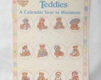 Cherished Teddies Cross Stitch Vintage Leaflet, A Calendar Year In Miniature