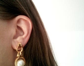 Large Faux Pearl with Sculptural Hinge Statement Earrings