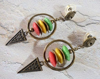 Green, Yellow and Red Ethnic Boho Tribal Earrings (4201)