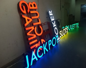 Led sign etsy outdoor sign for shop led sign metal letters lights letters led restaurant sign shop sign business sign light up sign outdoor letters aloadofball Gallery
