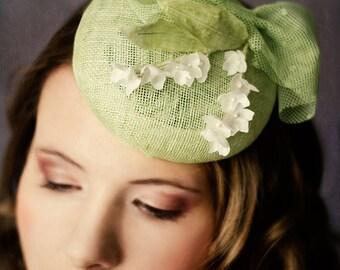 Hochzeit Beret Maiglöckchen Victoria Seidenblume Vintage Brauthut Retro grün