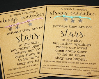 Always Remember Wish Bracelet ... Perhaps They are Not Stars in the Sky ... Sympathy ... Loss ... Hope