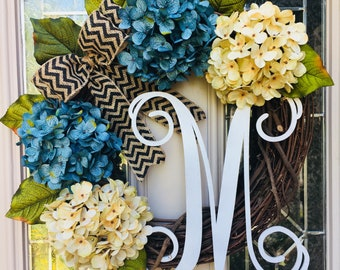 Blue and Cream Hydrangea Front Door Wreath-Spring Front Porch Wreath