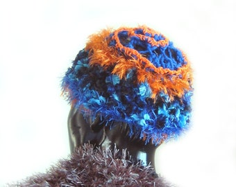 Crochet Fashion Hat Tangerine Turquoise contrast Freeform Wearable Art Hat Cap