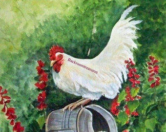 Set of Four blank notecards hens and roosters