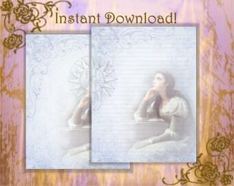 Juliet Stationery, Renaissance Stationery, Fairy Tale, Fairy Tale Paper, Fairy Tale Pages, Stationery Set, Stationery Kit, Digital Paper