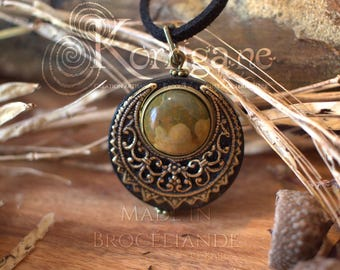 "Amulet Protection Necklace Pendant ""Lleuad"" - Rhyolite - Moon Wicca - Wood - Gold-Filled Brass Gemstone - Pagan Triple Goddess"