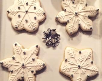 Assorted Snowflake Sugar Cookies (Dozen)