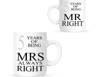 Mr Right & Mrs Always Right 5th WOOD WEDDING ANNIVERSARY Pair of Mugs