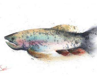 RAINBOW TROUT PRINT - trout watercolor, trout painting, fish print, fish wall art, fish lover gift, fish artwork, fishing gift, fish decor