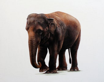 elephant art painting, relistic fine art painting, hand painted