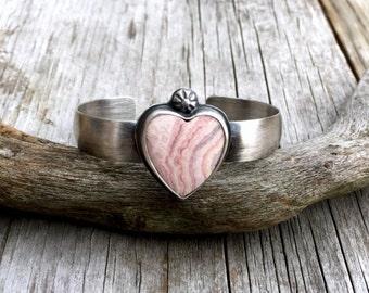 Sterling Silver Cuff, Heart Bracelet, Pink Heart Cuff, Vintage Look Bracelet, Sterling Silver Bracelet, Silver Bangle, Heart Jewelry