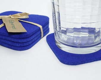 Square Wool Felt Cup Desk Coaster Set of 6 Blue Coasters for Desk Fabric Bar Coasters, Royal Blue House Warming Gift for Hostess