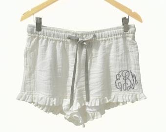 Monogram Pajama Shorts, Bridesmaid Gift, Bridesmaid Pajamas, Cotton Shorts, Cute PJ, Bridesmaids Gifts, Bride tribe Gifts, Cotton Payjamas