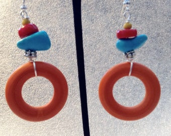 Orange Wood, Turquoise Howlite and Red Coral Drop Earrings