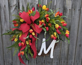 Spring Wreath, Door Wreath for Spring, Tulip Wreath, Wreath, Wreath with Red and yellow Tulips, Wreath, Easter Wreath