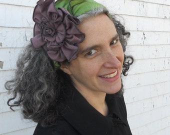 Flapper Headband - Green and Purple Organic Fabric - Giant Rose - Party Madeline