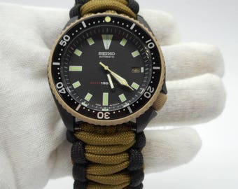 Seiko MOD 7002 Divers watch Black Desert Sand Cerakote military with hand crafted Paracord strap