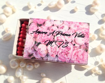 Set of 50 Floral Wedding Match Favor * Personalized Matches * Custom Matches * Wedding Matches * Custom Matchboxes * Personalized Matchbox