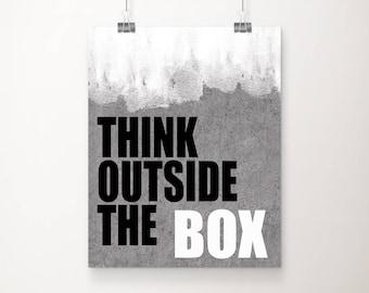 Think Outside The Box Stone Art Print - Wall Art - Office Art - Vanity Art - Typography - Office Decor