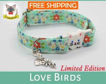 Cat collar breakaway//Love Birds// kitten collar, cat collar, safety cat collar, summer  cat collar, floral cat collar,cute cat collar