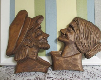 VINTAGE Wood Sculpture made by ANTE Vintage Couple man woman wooden carved by Ante VTG Christmas Present