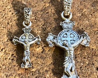 Saint Benedict crucifix. Double sided. Sterling silver.