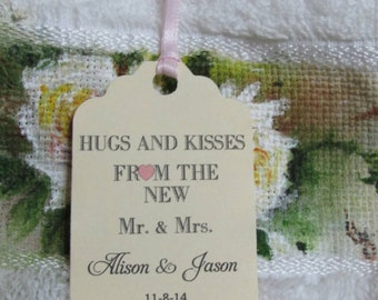 Personalized Favor Tags 2 1/2'', Wedding tags, Thank You tags, Favor tags,Bridal Shower Favor Tags, hugs and kisses from mr and mrs