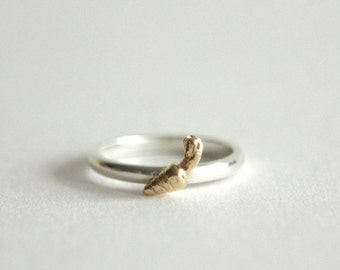 Carrot Ring, 9ct Gold & Sterling Silver, 9 Carrot Gold, Handmade in Brighton