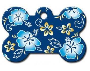 Hawaiian Blue Large Dog Tag - Bone