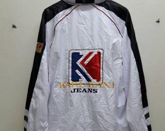 Vintage KARL KANI jeans sport windbreaker embroidered big logo jacket Hoodie white Black color