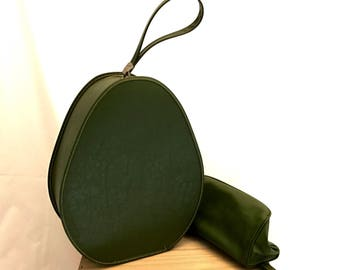 Vintage Retro 1960s Sixties Olive Avocado Green Overnight Carry On Honeymoon Hat Case Bag Suitcase Box w/ Matching Makeup Toiletries Bag