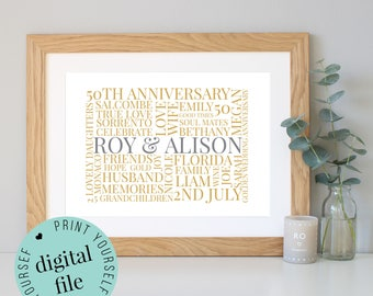 50th ANNIVERSARY GIFT - Word Art - Printable Gift - 50 Year Anniversary - 50th Wedding Anniversary - Golden Anniversary - Personalised Gifts